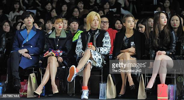 No MinWoo Kim JaeKyung of RAINBOW KangNam BoRa and DaSom of SISTAR attend the 2015 S/S Seoul Fashion Week Kwak Hyunjoo collection at DDP on October...