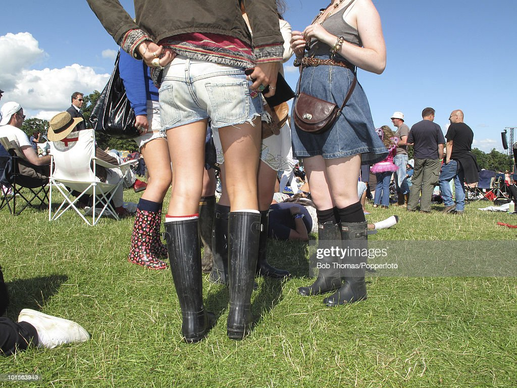No need for the Wellington boots, but these music fans are well prepared for an English summer during the Cornbury music festival at Cornbury, in Oxfordshire, England, 12th July 2009.