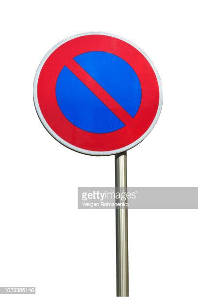 no parking road sign isolated on white background - forbidden stock pictures, royalty-free photos & images