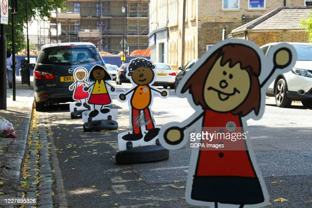No Parking signs outside a pre-school in East London as most schools closed for the summer term to be reopened in September as per Government advice.