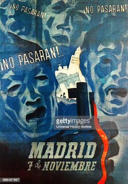 No Pasaran Spanish republican Poster They shall not pass was the rallying call of the Siege of Madrid used by Dolores Ibarurri during the Spanish...