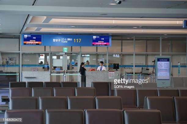No passengers seen waiting in front of the Japan's Okinawa bound boarding gate. Okinawa has been one of the most popular summer destination among...