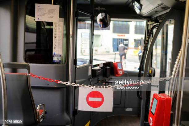 No passing' signs is seen in a bus from the Brussels public transport company on March 17, 2020 in Brussels, Belgium. From 00:00 on March 15 all...