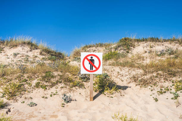 No People Warning Sign, Sand Dunes, Galicia, Spain