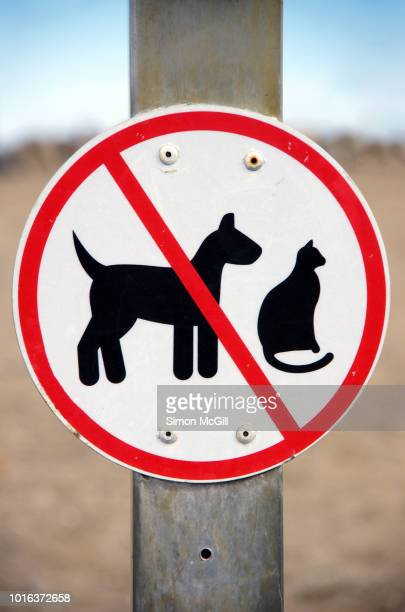 no pets (dogs or cats) sign near a coastal wildlife reserve - verboten stock-fotos und bilder