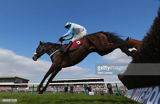 No Planning ridden by Ryan Mania clears the last fence on their way to winning The Bet At corbettsports.com Levy Board Handicap Steeple Chase at...
