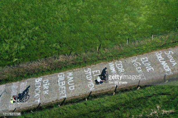 No public and fans this year on the iconic Koppenberg hill paved with cobbles but painted with the names of healthcare workers fighting the Covid-19...