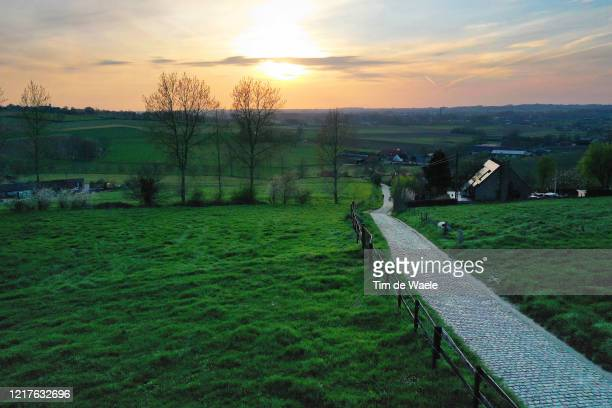 No public and fans this year on the iconic Patersberg hill / Cobblestones / Landscape / on April 07, 2020 in Oudenaarde, Oost-Vlaanderen / EDITORS...