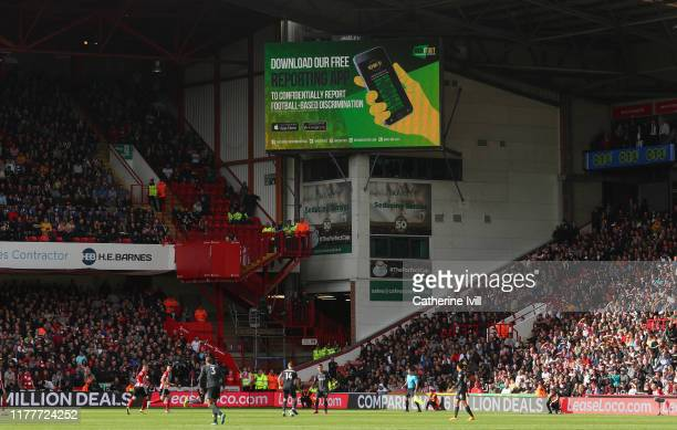 A no room for Racism advert is displayed during the Premier League match between Sheffield United and Liverpool FC at Bramall Lane on September 28...