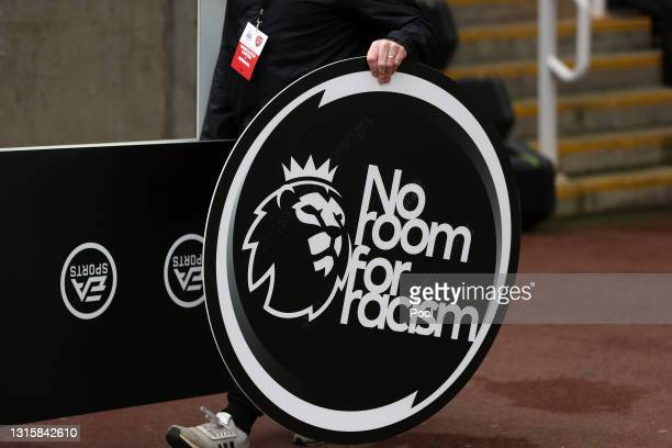 No room for racism branding is seen prior to the Premier League match between Newcastle United and Arsenal at St. James Park on May 02, 2021 in...