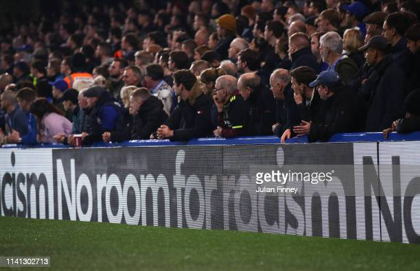 No Room For Racism campaign hoardings are displayed during the Premier League match between Chelsea FC and West Ham United at Stamford Bridge on...