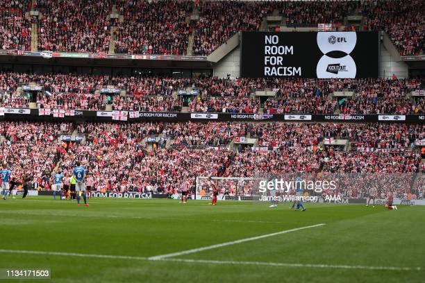 No Room For Racism campaign shown on the screen at Wembley stadium during the Checkatrade Trophy Final between Sunderland AFC and Portsmouth FC at...