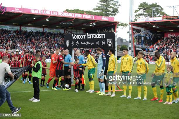 No room for racism during the Premier League match between AFC Bournemouth and Norwich City at Vitality Stadium on October 19 2019 in Bournemouth...