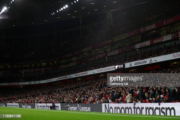No room for racism is displayed on the LED boards during the Premier League match between Arsenal FC and Crystal Palace at Emirates Stadium on...