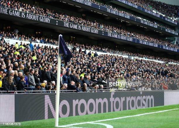 'No Room For Racism' is shown on the electronic boards around the ground during the Premier League match between Tottenham Hotspur and Watford FC at...