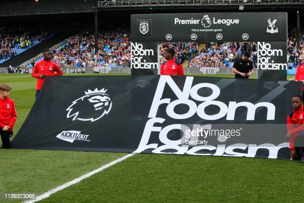 No Room For Racism Kick It Out campaign before the Premier League match between Crystal Palace and Huddersfield Town at Selhurst Park on March 30...