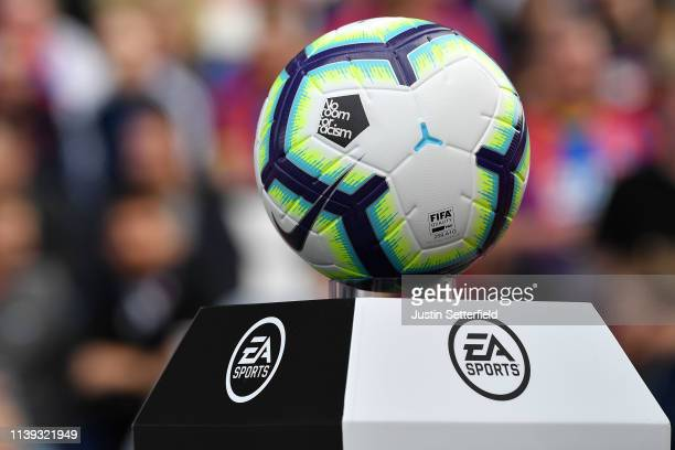 No Room for Racism match ball during the Premier League match between Crystal Palace and Huddersfield Town at Selhurst Park on March 30 2019 in...