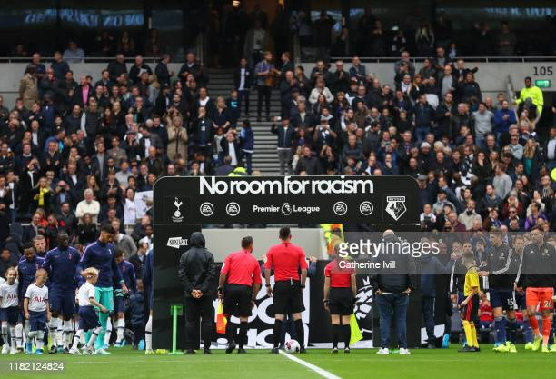 No room for Racism on the line up board ahead of the Premier League match between Tottenham Hotspur and Watford FC at Tottenham Hotspur Stadium on...