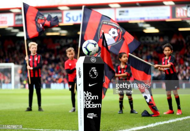 No Room For Racism plinth is seen prior to the Premier League match between AFC Bournemouth and Burnley FC at Vitality Stadium on April 06 2019 in...