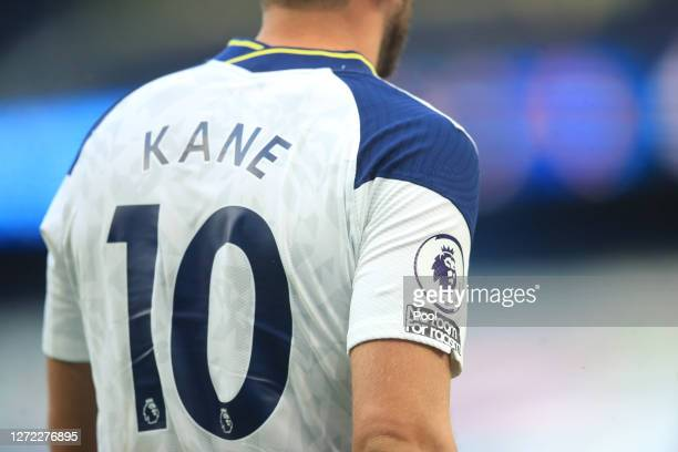 No Room for Racism slogan is seen on the sleeve of Harry Kane of Tottenham Hotspur during the Premier League match between Tottenham Hotspur and...