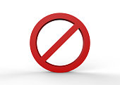 No sign on isolated white background