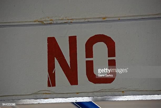 No sign tagged on wall