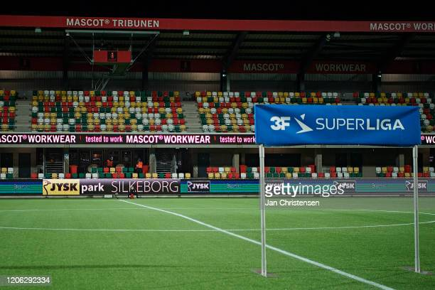 No spectators on the stands due to coronavirus prior to the Danish 3F Superliga match between Silkeborg IF and AGF Arhus at JYSK Park on March 09...