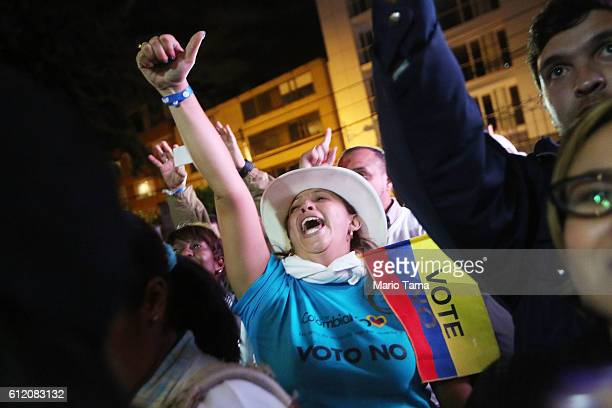'No' supporters celebrate at a rally following their victory in the referendum on a peace accord to end the 52yearold guerrilla war between the FARC...