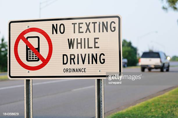 No texting while driving ordinance sign