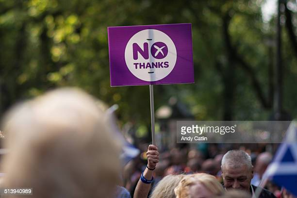 'No Thanks' banner at Orange Order prounion March in Edinburgh on Sat 13 September 2014