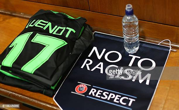 A 'No to Racism' pendent on display ahead of the UEFA Champions League match between Celtic FC and VfL Borussia Moenchengladbach at Celtic Park on...