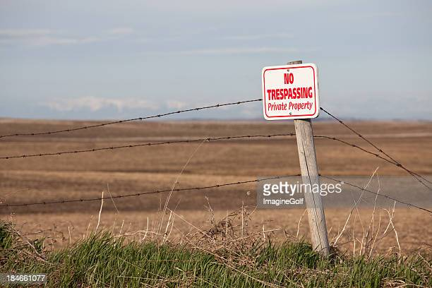 No Trespassing Private Property Sign in Rural Region