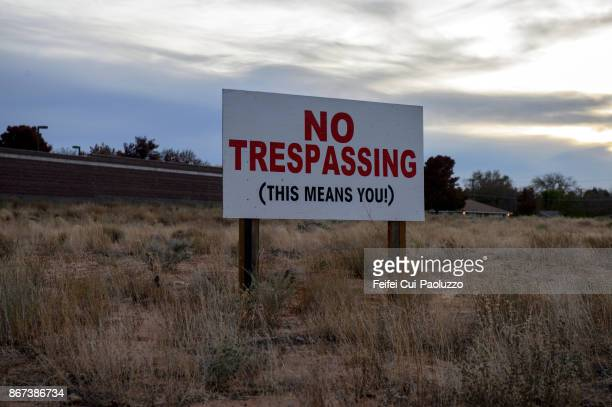 No trespassing sign at Page, Arizona, USA