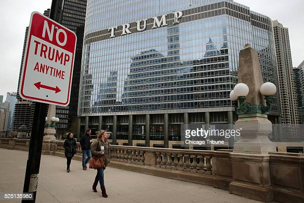 A No Trump Anytime sign sits mounted on a pole outside of Trump Tower in Chicago on Wednesday April 27 2016