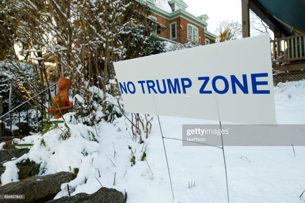 No Trump Zone sign protesting the Donald Trump presidency is found in a front yard in the liberal West Mount Airy Neighborhood, in Northwest Philadelphia, Pennsylvania, on February 9th, 2017.