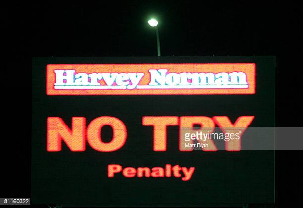A 'no try penalty' display is seen on a big screen after a video referee's decision during the round 10 NRL match between the Parramatta Eels and the...