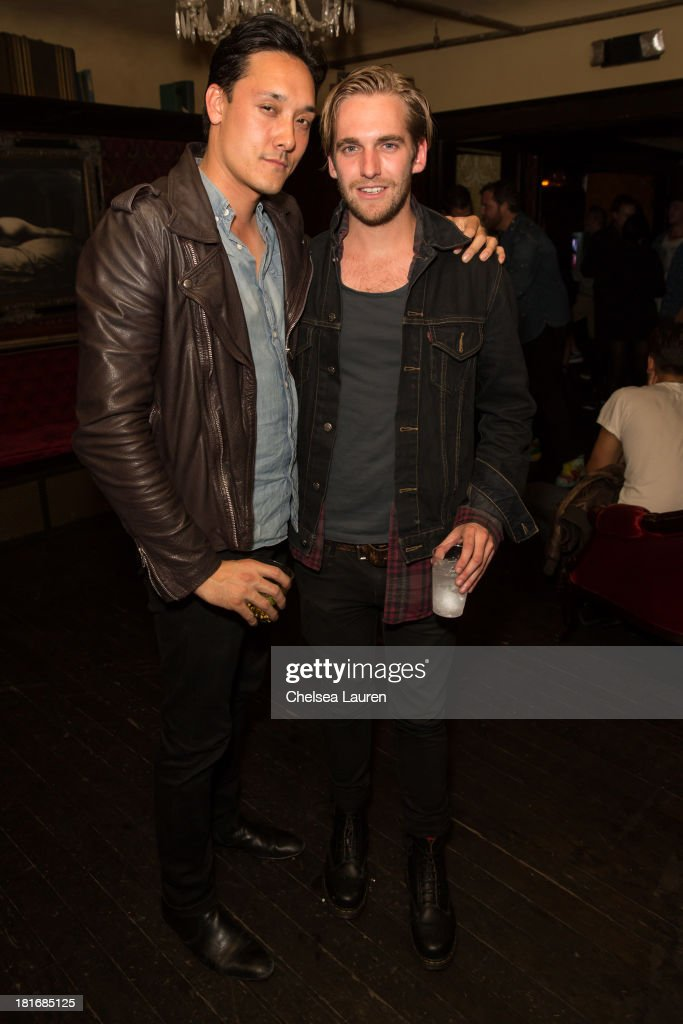No Vacancy co-owner Mark Houston (L) and bassist David Beadle from The Naked and Famous attend the M83 Post-Show Soiree At No Vacancy on September 22, 2013 in Hollywood, California.