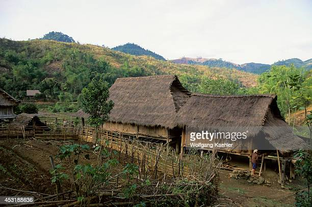 No Vietnam Near Hoa Binh Giang Mo Village Muong Hilltribe Traditional House On Stilts