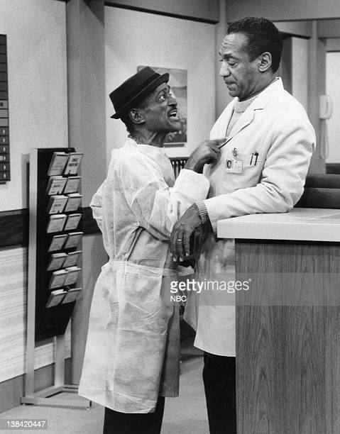 "No Way, Baby"" Episode 16 -- Air Date -- Pictured: Sammy Davis Jr. As Ray Palomino, Bill Cosby as Dr. Heathcliff 'Cliff' Huxtable"