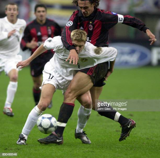 LEAGUE No way through for Alan Smith of Leeds United as Maldini of AC Milan blocks him in their Champions League Match at the San Siro stadium in...