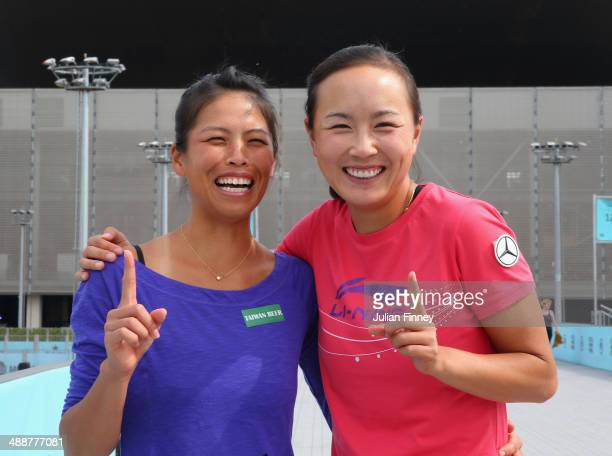 No1 Doubles players Shuai Peng of China and SuWei Hsieh of Taipei pose for a photo during day six of the Mutua Madrid Open tennis tournament at the...