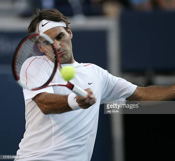 No.1 seed Roger Federer in action tonight vs Fernando Gonzalez of Chile in their semi- final match at the Rogers Cup ATP Master Series tennis...