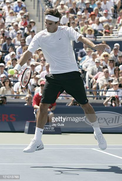 No.1 seed Roger Federer in action vs Richard Gasquet of France during the final of the Rogers Cup ATP Master Series tennis tournament at the Rexall...