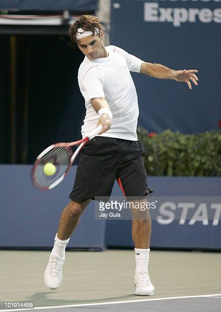 No1 seed Roger Federer of Switzerland in action vs Xavier Malisse of Belgium at the Rogers Cup ATP Master Series tennis tournament at the Rexall...