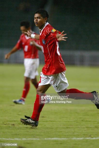 No20 Bambang Pamungkas of Indonesia celebrates his score in Kitchee vs Indonesia in Hong Kong Stadium The visiting national team won 10 13 July 2004