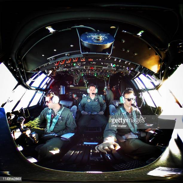 No40 squadron are pictured flying the RNZAF C130 Hercules enroute to the Woodbourne Airbase on April 17, 2019 in Blenheim, New Zealand. The RNZAF...