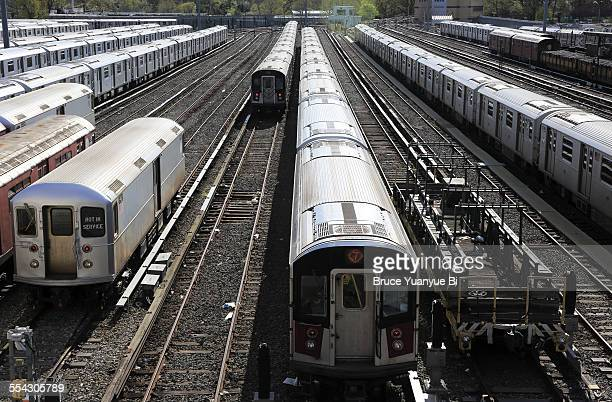 no.7 subway trains in corona yard - flushing queens stock pictures, royalty-free photos & images