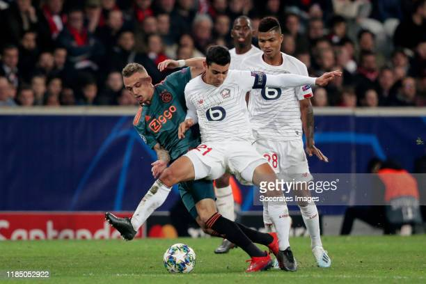 Noa Lang of Ajax, Benjamin Andre of Lille during the UEFA Champions League match between Lille v Ajax at the Stade Pierre Mauroy on November 27, 2019...