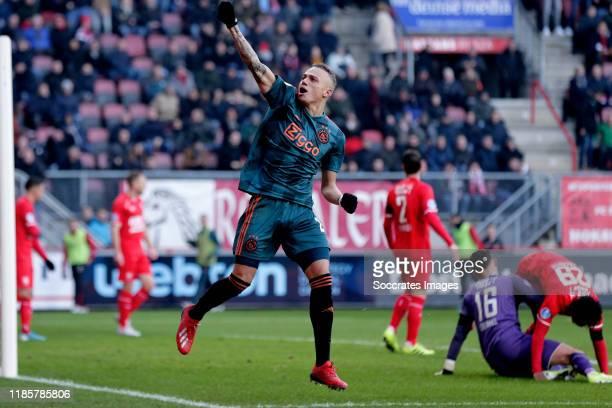 Noa Lang of Ajax celebrates 22 during the Dutch Eredivisie match between Fc Twente v Ajax at the De Grolsch Veste on December 1 2019 in Enschede...
