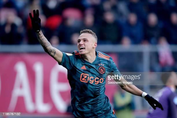 Noa Lang of Ajax celebrates 24 during the Dutch Eredivisie match between Fc Twente v Ajax at the De Grolsch Veste on December 1 2019 in Enschede...